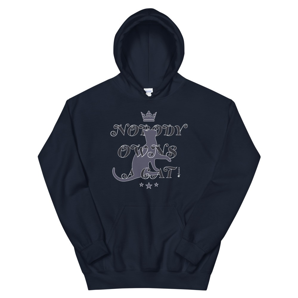 Nobody Owns A Cat - unisex heavy blend hoodie blue: Design-by-fANSIMON