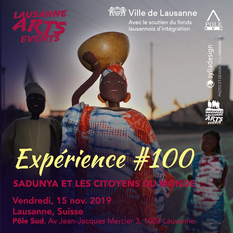 Visuel pour l'évenement Expérience # 100 SaDunya et les citoyens du monde à Lausanne en Suisse.