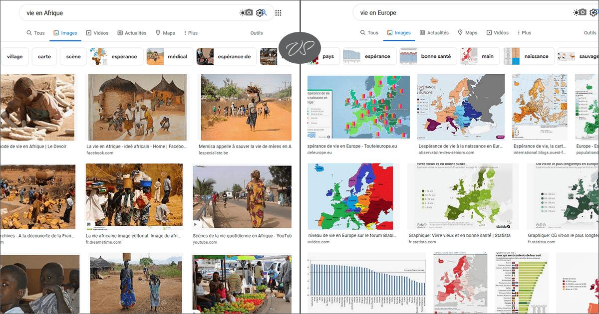 """l'image d'une recherche sur Google en utilisant les termes """"vie en Afrique"""" et """"vie en Europe"""""""