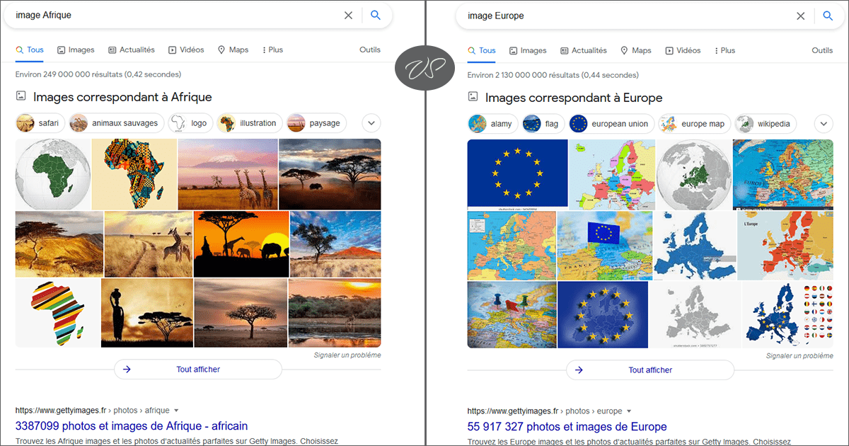 """Une recherche avec les mots clés """"image Afrique"""" et """"image Europe"""""""